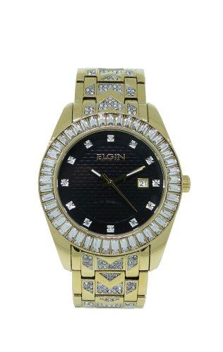 Elgin Crystal Watch (Elgin FG1509 Men's Black Round Analog Date White Crystal Gold Tone Watch)