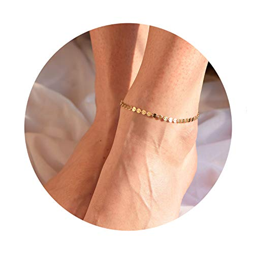 Fettero 14K Gold Filled Coin Anklet Boho Beach Foot Adjustable Wafer Sequin Chain Ankle Bracelet