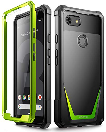Google Pixel 3 Case, Poetic Guardian [Scratch Resistant Back] Full-Body Rugged Clear Hybrid Bumper Case with Built-in-Screen Protector for Google Pixel 3 Green