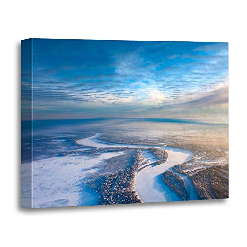 - Emvency Painting Canvas Print Artwork Decorative Print Aerial View from Above Forest River During Cold Winter Day Hoarfrost is Wooden Frame 24x32 inches Wall Art for Home Decor