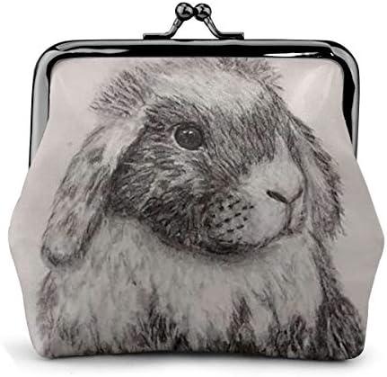ホワイトサン がま口 財布 小銭入れ ウサギウサギ 11.5cm×10.5cm×3cm レザー 小物入れ コインケース