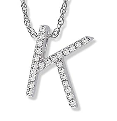 14k white gold diamond k initial pendant