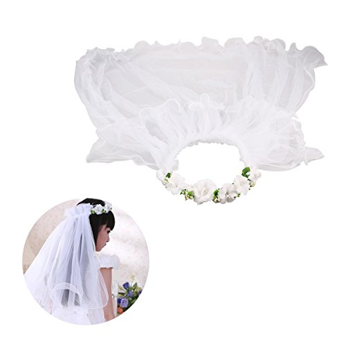 LUOEM Flower Girl Veil Floral Headpiece Crown Wedding Communion Hair Wreath -