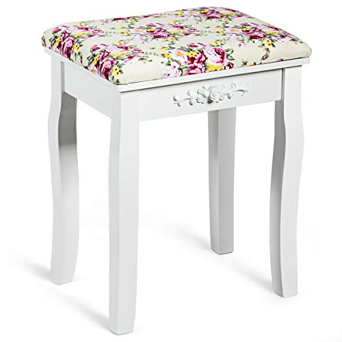 Giantex Vanity Stool Wood Dressing Padded Chair Makeup Piano Seat Make Up Bench w Rose Cushion White