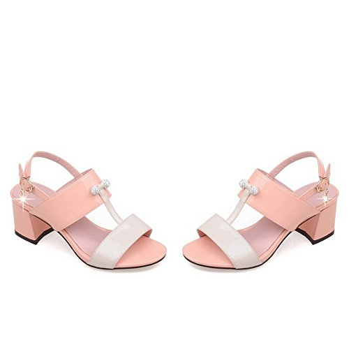Borchie Open Women's Buckle Toe Rosa heels Microfibra Allhqfashion Kitten In Sandali Con vHwHqx