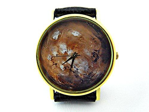 Mars Watch, Planet Leather Watch, Bracelet Watch, Handmade Watch, Genuine Leather Bracelet Watch P014