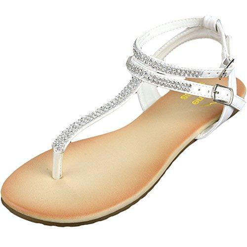 Alpine Swiss Womens White Slingback T-Strap Rhinestone Thong Sandals 11 M US