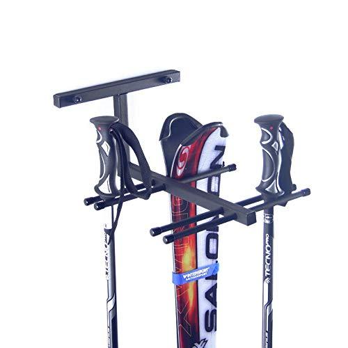 AZZAP Skihalter für 4 Paare Ski Skiträger Skistöcke Nordic Walking Stöcke Wandhalter N4