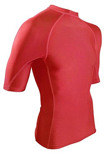 Rash Guard Compression Shirt For Men - USA Made Base Layer & Swim Shirt (Red, - Long Suit Sleeve Triathlon