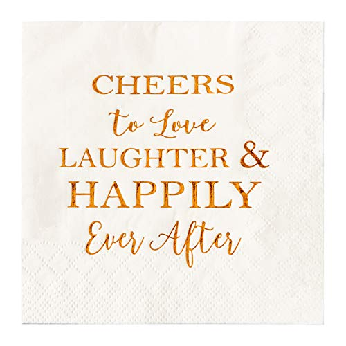 Crisky 50 Count Bridal Shower Napkins Disposable Cocktail Napkins 3-Ply Rose Gold Foil Text Beverage Napkins for Engagement Party Decorations & Wedding Shower