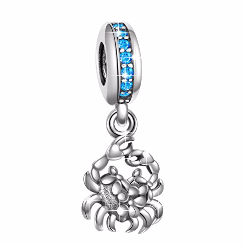 925 Sterling Silver Ocean Series Crab Charms Bead for European Snake Chain Bracelets (Sterling Silver Crab Charm)