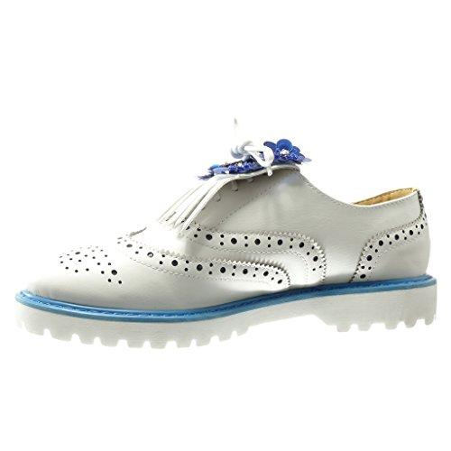 Angkorly - Zapatillas de Moda Zapato acento mujer flores fleco perforado Talón Plataforma 3 CM - Azul