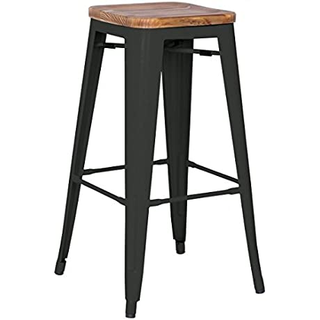 MC Backless Counter Stool Wood Seat 26 Set Of 4 Black