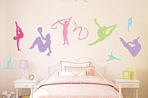 Wallmonkeys WM149098 Colorful Gymnastics Silhouettes Peel and Stick Wall Decals (48 in W x 32 in H)