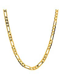 Lifetime Jewelry Figaro Chain 4MM Necklace, 24K Gold Over Bronze, Guaranteed for Life, 16-36 Inches