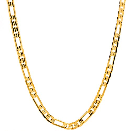 24k Gold Set - Lifetime Jewelry Figaro Chain 4MM Necklace, 24K Gold Over Semi-Precious Metals, Guaranteed for Life, 16 Inches