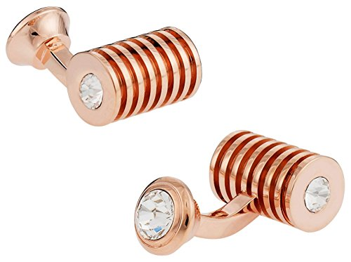 Rose Gold Plated Clear Swarovski Barrel Crystal Cufflinks (Clear Crystal Cufflinks)