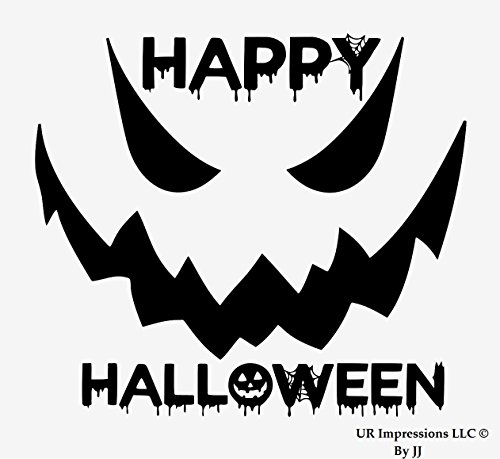 UR Impressions Blk 6.5in. Happy Halloween Spooky Face Decal Vinyl Sticker Graphics Car Truck SUV Van Wall Window Laptop Tablet|Black|6.5 X 5.5 -