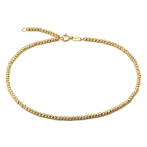 """LoveBling 10K Yellow Gold 2mm Diamond Cut Moon Chain Anklet Adjustable 9"""" to 10"""" (#1)"""