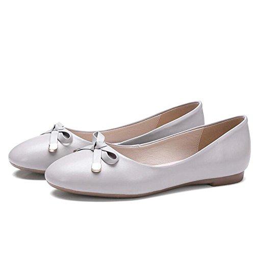 L@YC Zapatos Planos Para Mujer Primavera Y OtoñO CóModo De Cuero Plana Con Nudo De Cuero Oficina De Nudo White