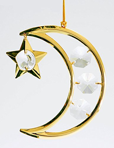 - Crescent Moon and Star 24k Gold Plated Hanging Ornament with Clear Spectra Crystals by Swarovski