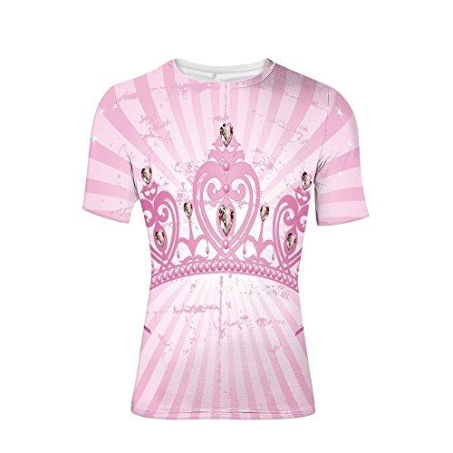 (T-Shirt for Men,Shaped Princess Crown on Radial Backdrop Girls,3D Print)