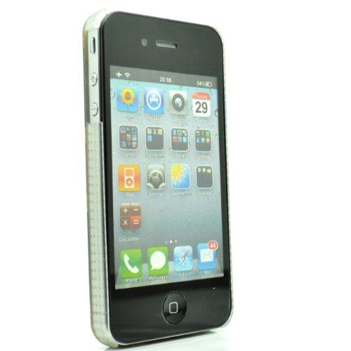 iPhone 4/4S, Violett/Weiß Polka Punkte mit Blumen Clip auf Slim Fit Hard Back/Cover/Case Zubehör für Handys von Oliviasphones