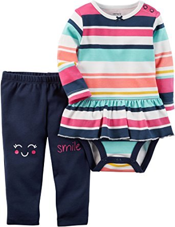 Carter's Baby Girls' 2 Piece Striped Bodysuit & Smile Pants Set 12 Months