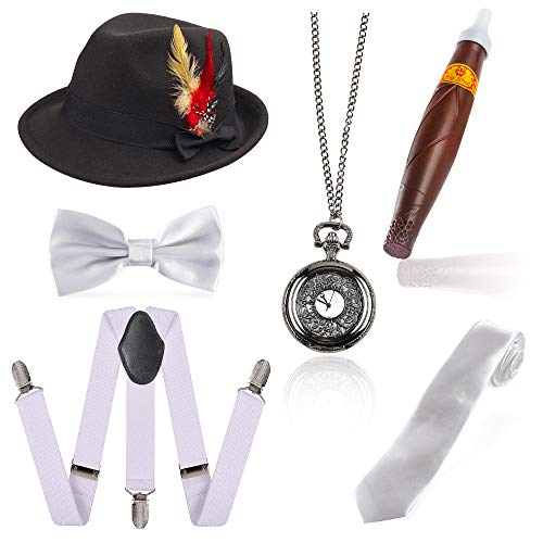 Beelittle 1920s Men Gatsby Accessory Set Trilby Manhattan Fedora Hat, Y-Back Suspenders,Ties, Puff Cigar, Vintage Pocket Watch (G) -