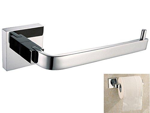 ThinkTop High End Modern Slat Single Toilet Tissue Paper Roll Holder Hanger Rustproof ( Brass Metrial, Chrome Finish,Wall Mounted ) Bathroom Accessories