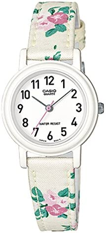 Casio Women s Leather Fabric White Floral Analog Watch LQ-139LB-7B2