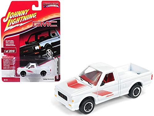 1991 GMC Syclone Pickup Truck Gloss White with Red Graphics Muscle Cars U.S.A. Limited Edition to 2,016 Pieces Worldwide 1/64 Diecast Model Car by Johnny Lightning JLSP044