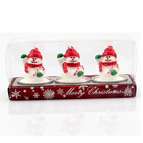 SpringPear 3X Christmas Candles Snowman Figure Table Decoration Xmas Party Accessoires 3D Candles with Silver Bowl