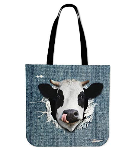 barn smile 3d cow funny fake jean Premium Poly Cotton Tote Bag Double-Sided Print