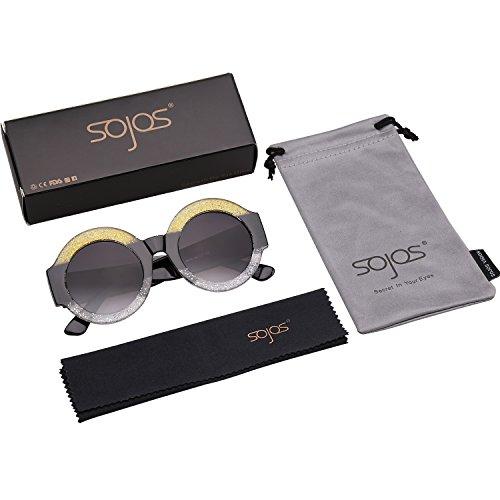 C5 Negro Gafas Marco Amarillo Marco Redondas Claro Elegante SOJOS Mujer De Grande SJ2047 Lentes Sol gzwq1wZ