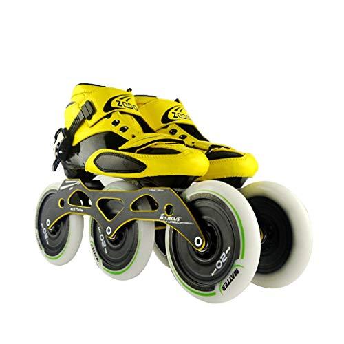 肩をすくめるの前で流用するailj スピードスケート靴3 * 125MM調整可能なインラインスケート、ストレートスケート靴(4色) (色 : イエロー いえろ゜, サイズ さいず : EU 42/US 9/UK 8/JP 26cm)