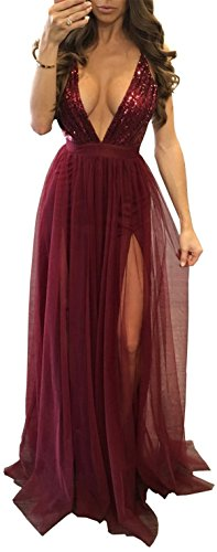 Dress Strap Gowns Sequins Wine Backless Allonly Deep Women Evening Sexy Red Maxi V Bv5vwq