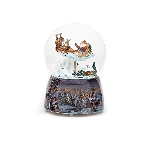 Pack of 2 Musical Santa Claus w/ Sleigh Christmas Snow Globe Glitterdomes 5.75'' by Roman (Image #1)