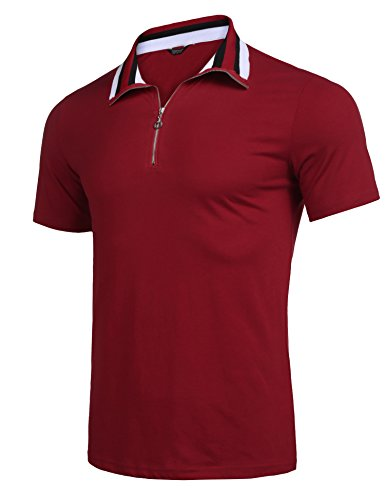 (COOFANDY Men's Short Sleeve Polo Shirts Casual Slim Fit Zipper Basic Sport Polo T-Shirts (L, Wine Red))