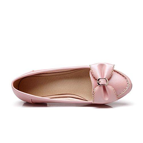 Balamasa Ladies Bows Zapatos Con Punta Redondeada De Corte Bajo, Zapatos De Uretano, Rosa
