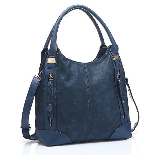 UTAKE Women Handbags Leather Handbags Shoulder Bag PU Leather Bag Large Tote Bag UT57 Blue (Blue Leather Handbags)