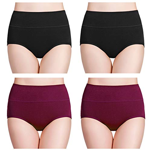 wirarpa Women's 4 Pack Cotton Underwear High Waisted Full Coverage Brief Panties Ladies Comfortable Underpants Black Deep red, Size 8 (Womens Underwear 8)