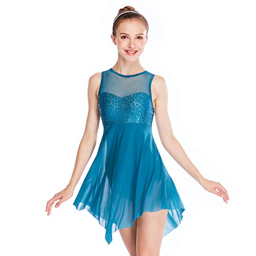 MiDee Lyrical Dress Dance CostumeIllusion Sweetheart Sequines Tank Top Trianglar Skirt (MA, Turquoise)