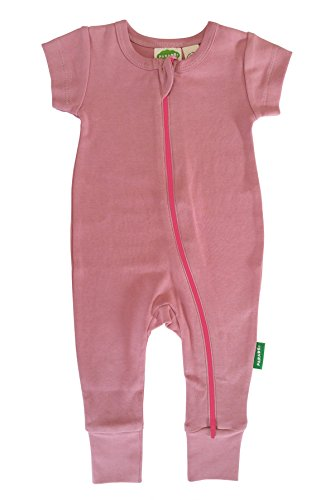 Parade Organics Essential Basic '2-Way' Zipper Romper Short Sleeve Dusty Rose 6-12 Months - 10 Dusty Rose