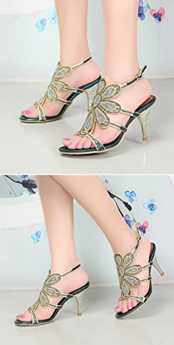 Women's Rhinestones Shoes Stiletto Blue Pumps Sandals Honeystore Heels Flower Dress Avndvq