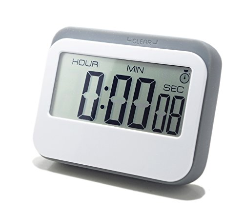 LeisureLife - Multifunction Large LCD Display Digital Timer. 3 mode - Clock,Countup,Countdown. Accurate to seconds. For Cooking,Study,Games (grey) (Small Digital Clock With Seconds)