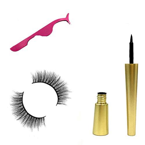 SUSSMAI Natural Magnetic Fast Drying Lasting Liquid Eyeliner Magnetic False Eyelash Clip - A Pair of Magnetic False Eyelashes + Powder Eyelash Curler + Magnetic Eyeliner ()