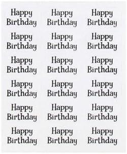 Amazon.com: Clear & Negro Feliz Cumpleaños pegatinas de ...