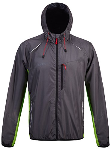 ZITY Men Hiking Light Weight Jacket Hooded Thin Windbreaker Windproof Breathable Running Coat