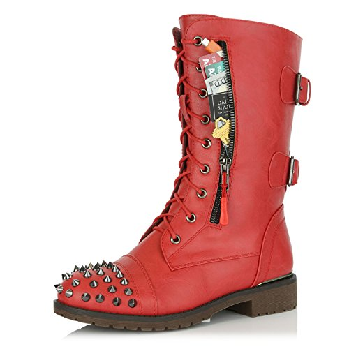 (DailyShoes Women's Military Lace Up Buckle Combat Boots Mid Knee High Exclusive Credit Card Pocket Front Studded Booties, Red PU, 7 B(M) US)